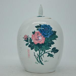 几十年醴陵釉下彩贴花瓷罐