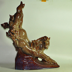 80年代博山窑大型瓷塑马