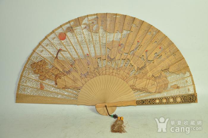 松鹤朝阳木刻工艺折扇一套图4