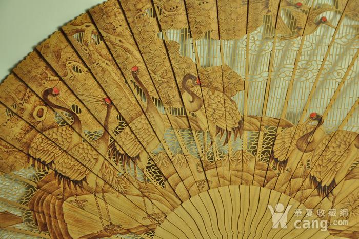 松鹤朝阳木刻工艺折扇一套图5