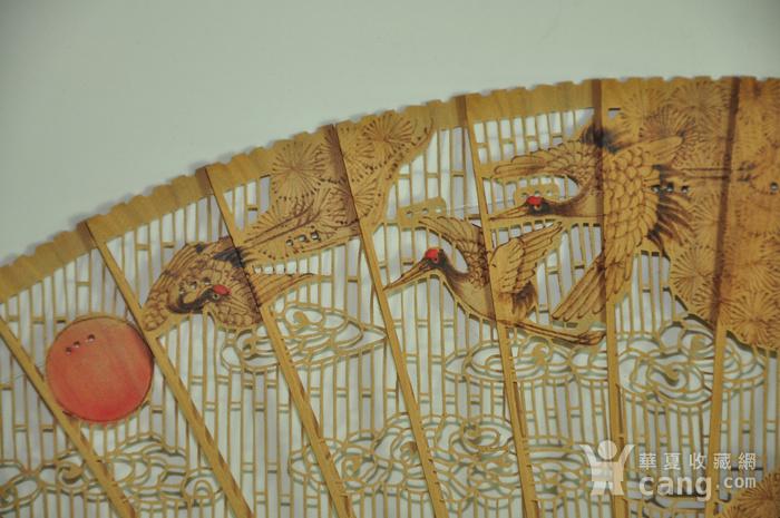 松鹤朝阳木刻工艺折扇一套图7