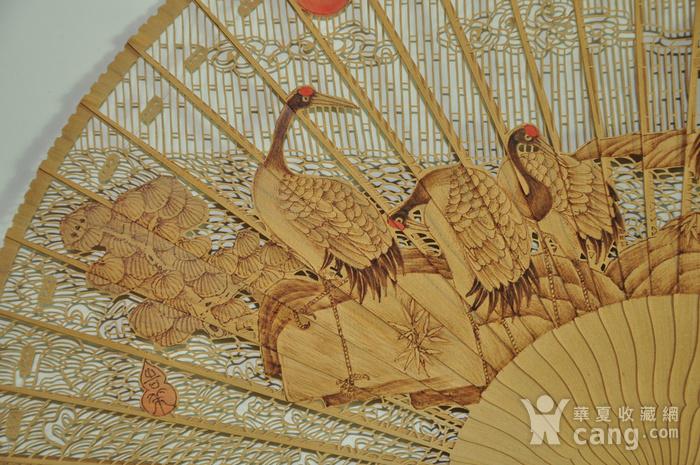 松鹤朝阳木刻工艺折扇一套图8