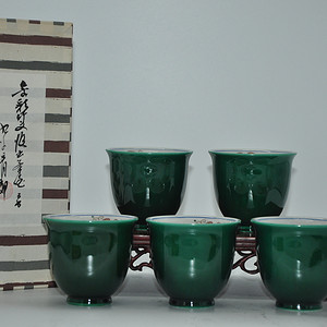 日本九谷青郊绿釉瓷茶碗五件套