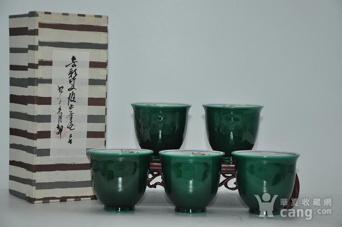 日本九谷青郊绿釉瓷茶碗五件套图1