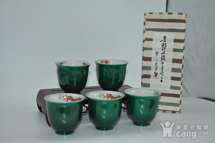 日本九谷青郊绿釉瓷茶碗五件套图3