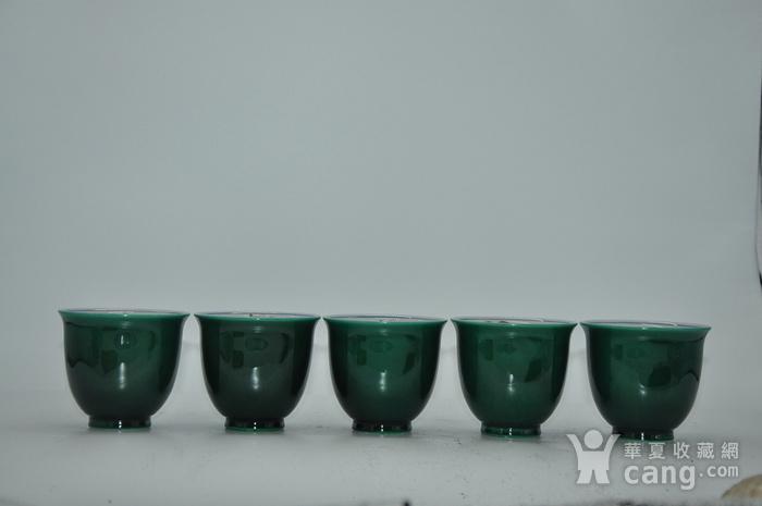 日本九谷青郊绿釉瓷茶碗五件套图4
