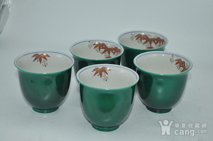 日本九谷青郊绿釉瓷茶碗五件套图5