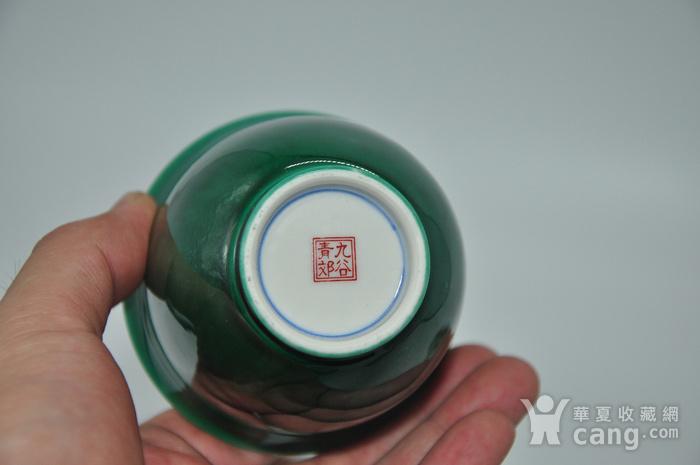 日本九谷青郊绿釉瓷茶碗五件套图8