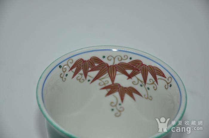 日本九谷青郊绿釉瓷茶碗五件套图11