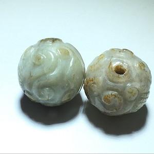和田白玉 籽料 回纹 一对珠 花