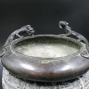 欧洲回流 螭龙纹铜炉