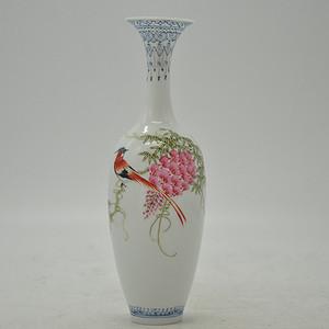 花鸟粉彩薄胎小瓷瓶