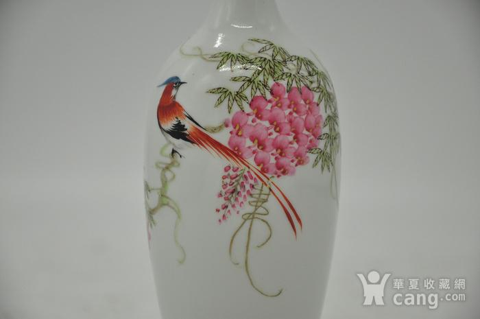 花鸟粉彩薄胎小瓷瓶图5