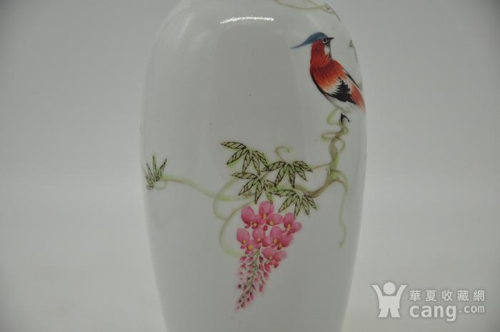 花鸟粉彩薄胎小瓷瓶图6