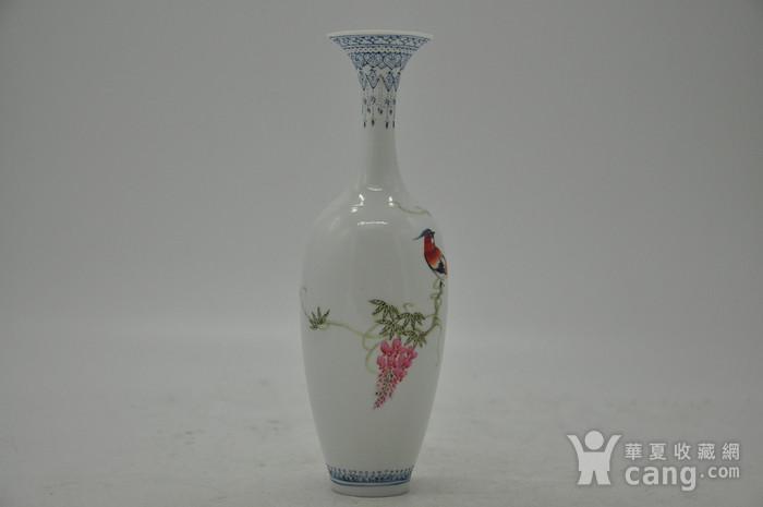 花鸟粉彩薄胎小瓷瓶图2