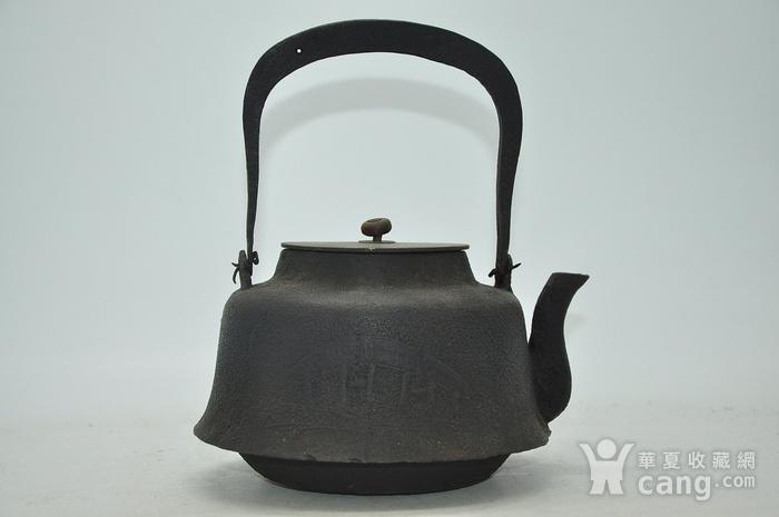 日本龙文堂铜盖铁壶图1