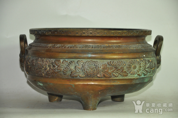 手工攒刻铜香炉图2