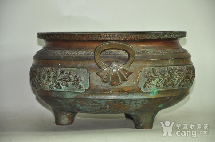 手工攒刻铜香炉图3