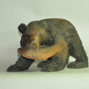 日本50年左右木雕棕熊