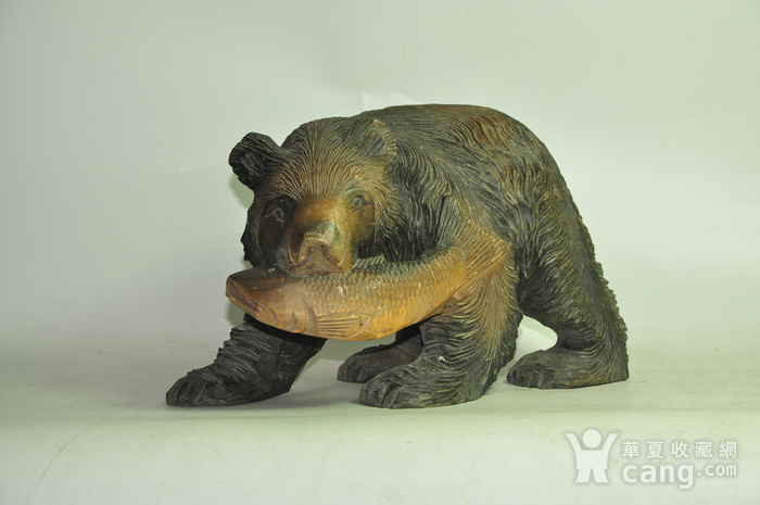 日本50年左右木雕棕熊图1