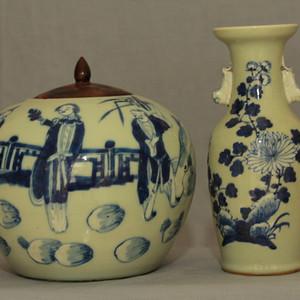 青花瓶瓷罐两件