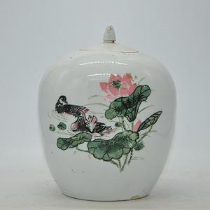 创汇期醴陵釉下彩瓷罐