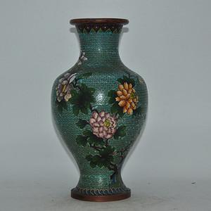 民国景泰蓝花瓶有修