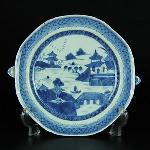 清中期 青花山水纹温盘