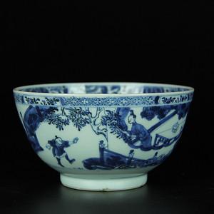 雍正 青花庭院人物纹碗