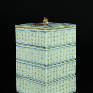 清中期 粉彩人物纹描金 前赤壁赋 四节盖盒