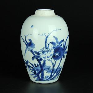 清顺治 青花花鸟纹罐