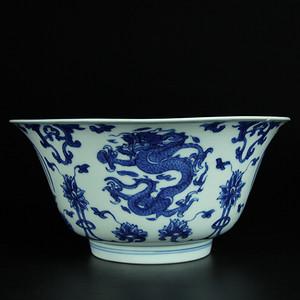 清康熙 青花团龙团凤纹大碗