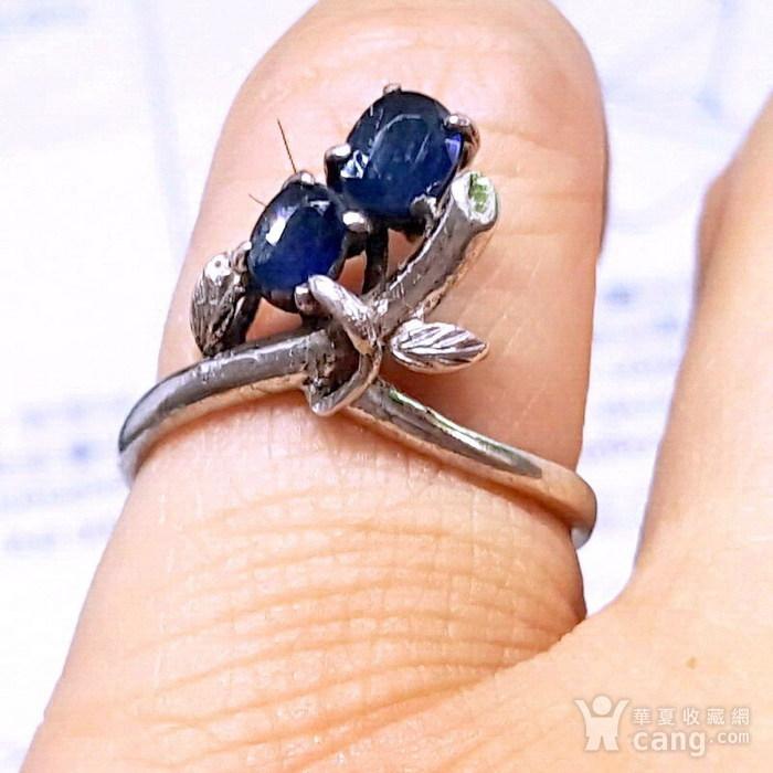 精品 19世纪欧洲蓝宝石老银戒指图1