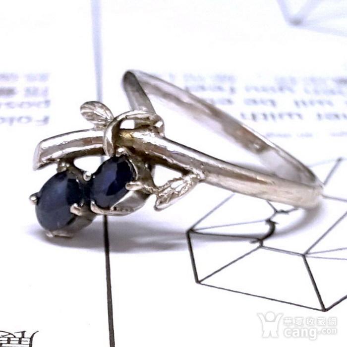 精品 19世纪欧洲蓝宝石老银戒指图4
