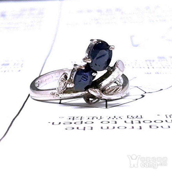 精品 19世纪欧洲蓝宝石老银戒指图2