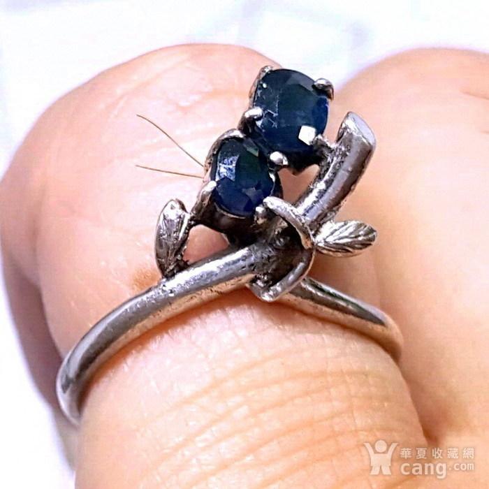 精品 19世纪欧洲蓝宝石老银戒指图5
