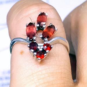 精品 19世纪欧洲芬达石老银戒指