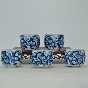 日本青花瓷茶碗五件套