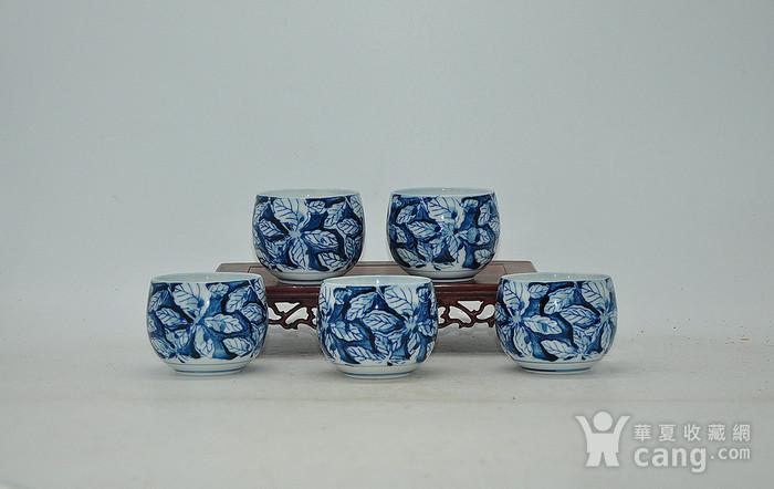 日本青花瓷茶碗五件套图1