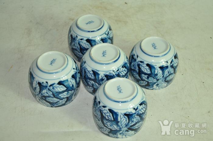 日本青花瓷茶碗五件套图3