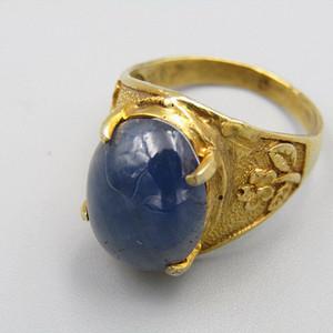 欧洲回流 六芒星光 蓝宝石戒面 戒指