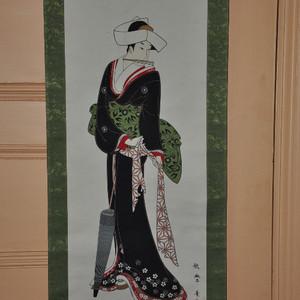 日本粉彩仕女画