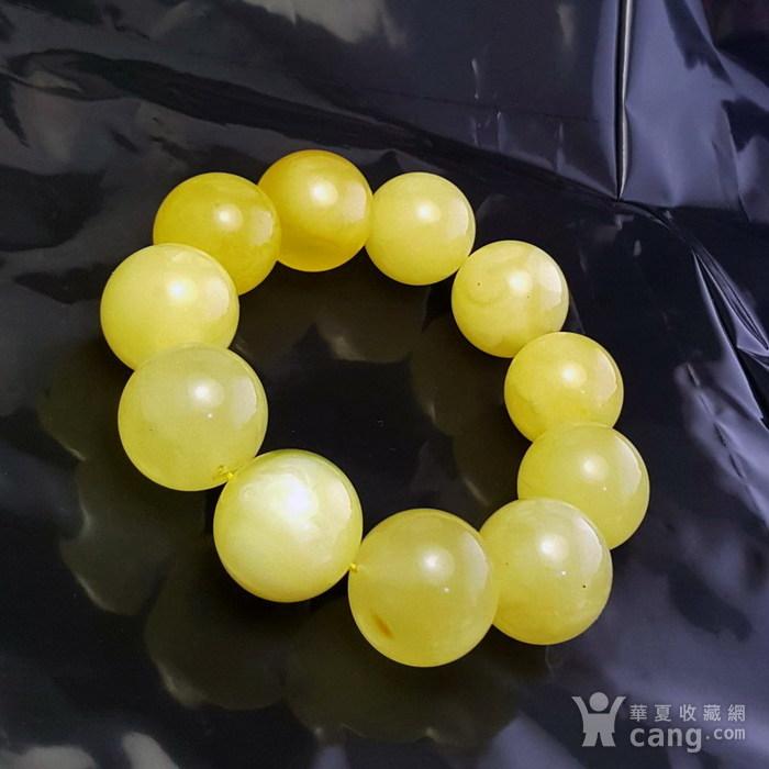 收藏品 61.48克原矿白花蜜蜡22mm圆珠手串图5
