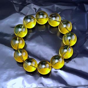 收藏品 56.01克保真多米尼加20mm3A级蓝珀圆珠