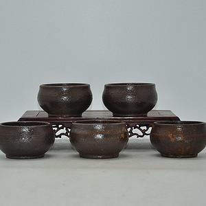 韩国陶瓷茶碗五件套