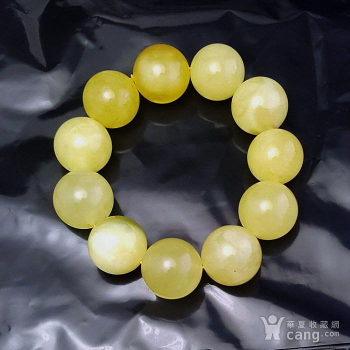 收藏品 61.48克原矿白花蜜蜡22mm圆珠手串图3