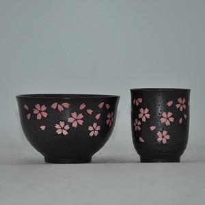日本酱釉粉彩茶具一套