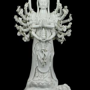 1解放初期德化窑白釉千手观音瓷像