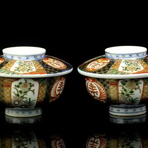 8清晚青花加彩花卉纹盖碗