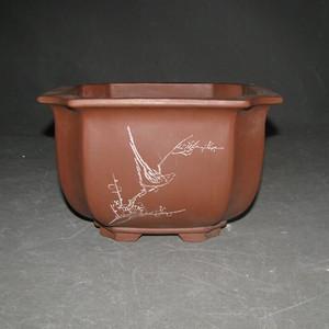 文革花鸟紫砂盆